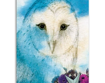 Owl Spirit, Note Cards - Set of four 5x7 note cards - painting and poem by Claire
