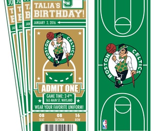 12 Boston Celtics Custom Birthday Party Ticket Invitations - Officially Licensed by NBA