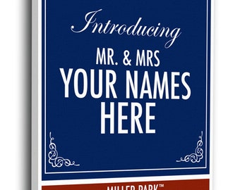 Milwaukee Brewers Personalized Special Occasion Announcement on Canvas - Ticket Design