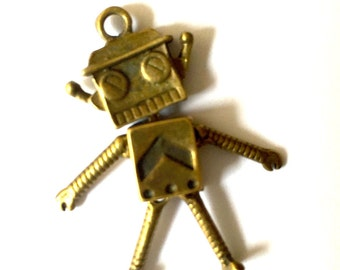 Antique Bronze Kawaii Robot Charms 2pcs
