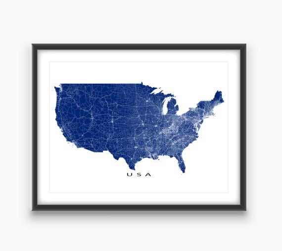 USA Map Art US Map Print United States Wall Map Road By