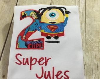 Super Woman Minion Personalized Birthday Shirt