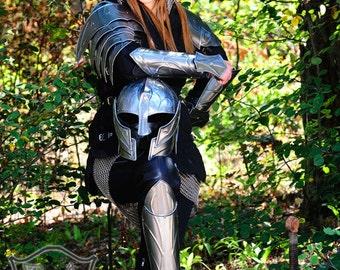 "Larp Female Armor Fantasy Costume for women steel set ""Elven Queen"" steel armor:  gambeson, shoulders, bracers, greaves"