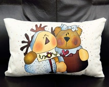 Adorable Teddy Tale Designer Hand Painted Pillow Cover