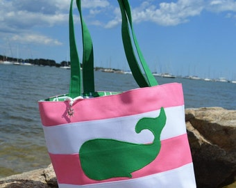 Whale Canvas Bag, Nautical Canvas Handbag with Green Whale, Pink and White Stripes, Lining and Charm, Canvas Tote