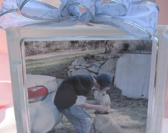 Customizable Glass Block, highlights family members, including  the 4 legged kind.
