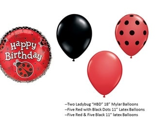 Lady Bug Birthday Balloons with red and black latex