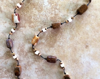Long Stone Necklace, Boho Necklace, Rustic Necklace, Woman Gift, Brown Necklace, Gift, Knotted Necklace, Bohemian Necklace, Earthy Jewelry