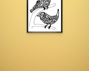 Bird Arabic Art Calligraphy Original Drawing