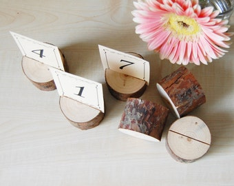 Rustic Table Number Holders - Place Card Holders - Pine Branch Table Number Holders - Rustic Woodland Outdoor Wedding Decor Sets of 32-65