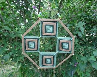 Green and Brown Ojo de Dios with Copper and Bead Embellishment