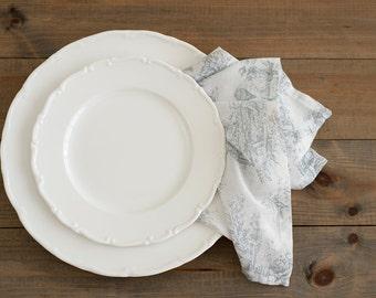 Batiste napkins - Set of 6 - Light grey napkins - Cotton napkins - Toile de Jouy - French napkins