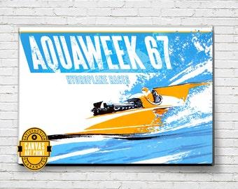 Boat Art - Vintage Boat Races - Canvas Art Print, Nautical Decor, Boat Print, Boating gift, vintage advertising, vintage boating poster