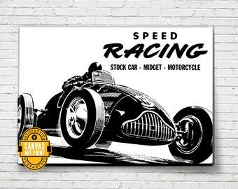 Car Art - Vintage Stock Car - Race - Canvas Art Print, Auto Art, Automobile Art, Automotive Decor, Man Cave Art, Car Gift, Garage Art