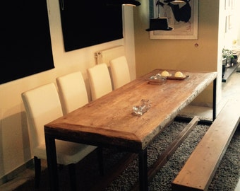 vintage handmade dining  table  with industrial base