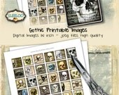 SKULLS printable 1x1 inch square for goth scary resin pendant bezel trays - halloween scrapbook instant download collage sheet - qu463