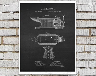 Blacksmith's Anvil Patent Poster, Blacksmith Patent Print #1, Chalkboard patent Black Wall Art, Metalworking technical drawing art print