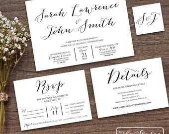 Simple Modern Wedding Invitation Suite Printable - The Skylar Collection