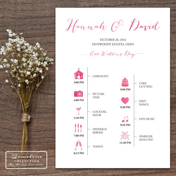 Wedding Invitation Timeline: Items Similar To Printable Wedding Timeline Day Of