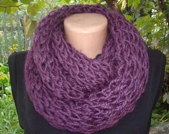 Women Crochet Cozy Scarf, ladies Scarves, lila scarf, purple scarf, eggplant accessories, finger knit scarf, knit neckwarmer, soft scarves