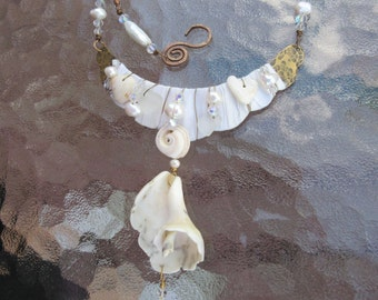 Beach Wedding Bridal Necklace with Shells, Sea Glass, Pearls, Crystals OOAK