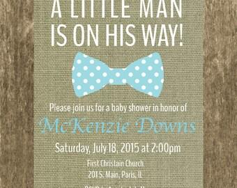 Baby Shower Invitation, Baby Boy Invitation, Bowtie Invitation, Baby Shower Invite, Baby Boy Shower Invite,  DIY Printable