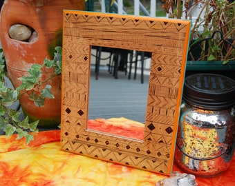 Wall Hanging Mirror, Wood   Bohemian Home Decor, Wood Burned Aztec Design