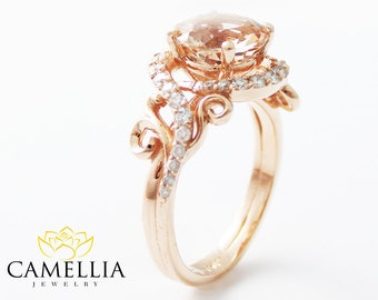 Camellia Jewelry Unique Engagement Ring by CamelliaJewelry on Etsy