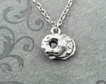 Bagel Necklace SMALL Bagel Jewelry Bagel Charm Necklace Bagel Pendant Necklace Bagel Sandwich Necklace Breakfast Sandwich Food Jewelry