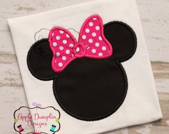 Minnie Mouse Head with Bow Appliqué Embroidery Design, Cute, Girl, Birthday, Birthday Party, Girly, Monogram, 4x4, 5x7, 6x10, 9x9