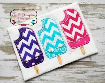 Summer Popsicles Applique Machine Embroidery Design, Summer, Spring, Girl, Boy, Ice Cream, Monogram, 5x7, 6x10