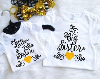 U Pick Colors Big Sister Little Sister shirt sets birth announcement props glitter sibling