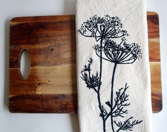 Flour Sack Towel (Unbleached) - Dill Weed - Hand Screen Printed