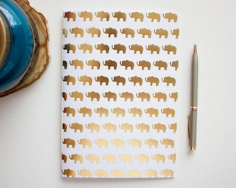 gold foil journal, elephant journal, small journal, travel journal, blank journal, small sketchbook, writing journal, sketchbook journal