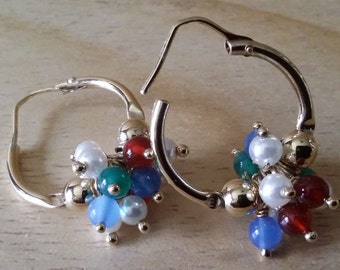 Earrings, 925 Silver, hoop, Italian, gold-plated 750, with beads and stones.