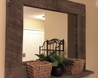 Rustic Wood Mirror Pallet Furniture Rustic Home Decor Reclaimed Pallet Wood Large Wall Mirror Hanging Mirror with Shelf