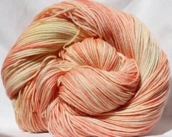 Hand dyed yarn, peach / cream yarn, variegated yarn, worsted weight,  fingering weight yarn, sock yarn, superwash wool / nylon yarn,