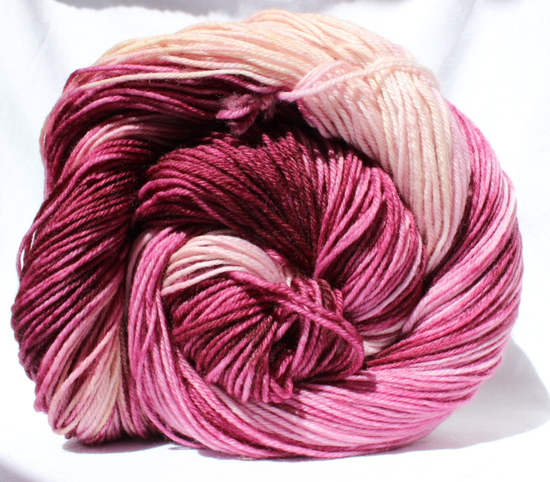 Hand dyed yarn burgundy / pink / yellow by SMAKSuperFibers on Etsy