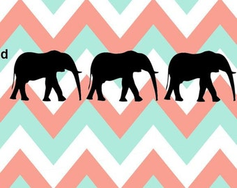 Elephants Vinyl Decal  *Please Note: Decals are Shown in Black in Photos. Backgrounds are not part of the decal*