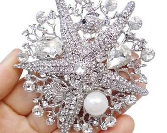 Beach  Wedding Bridal Brooch - Pearl and Crystal Starfish Brooch- Destination Wedding Brooch -Clear Crystal Brooch