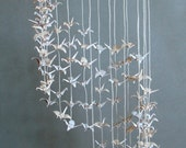"Cream and White Cylinder-Shaped Mobile, Origami Cranes ""Wedding"", Delicate, Happy, Love, Oriental"