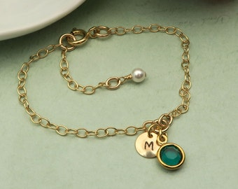 Personalized Initial Birthstone Bracelet, Bridesmaid Bracelets, Friendship Jewelry Gifts, Initial Bracelet, Custom Jewelry, Dainty Bracelet