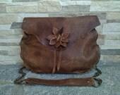 Brown Leather Flower Shoulder Bag, Distressed Brown Leather Flower Bag,Antique Brown Leather Flower Bag, Boho Natural Edge Brown Leather Bag