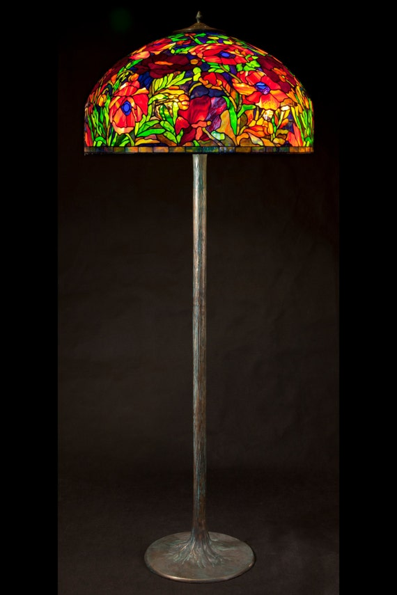 Tiffany floor lamp Oriental Poppy. Big floor stained glass lamp. Classic Tiffany style floor lamp with decorative base.