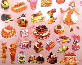 Kawaii anime lolita girls & forest animals with strawberry desserts paper stickers - sweets and treats - hedgehog - strawberry cakes - tarts