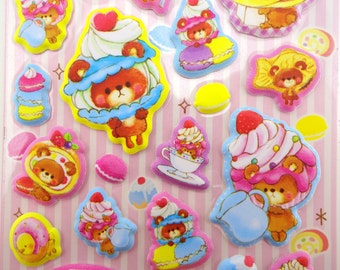Kawaii dessert head teddy bear and baby chicks PUFFY 3D stickers - French macarons and pancakes - taiyaki - swiss rolls - doughnuts - tea