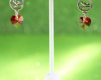 For The Love of Birds Sterling Silver and Swarovski Crystal Earrings