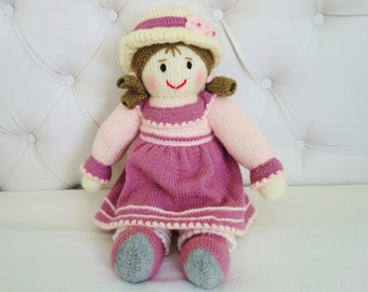 Hand Knitted Doll in a Pink Dress - Size 17 inches (Made to Order)