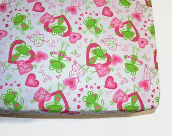 Frog themed fitted sheet, baby and toddler fitted crib sheet, pink and lime green