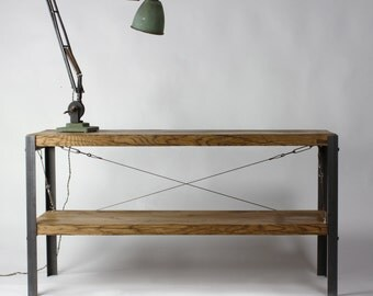 Oak INDUSTRIAL TV Stand, Entertainment Unit [Bespoke sizes!] Rustic Reclaimed